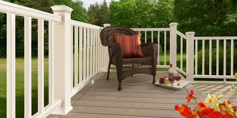 Deck with rail and chair