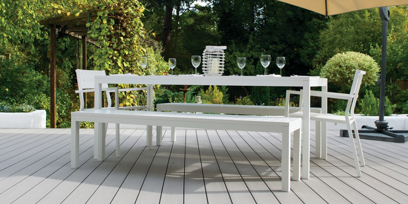 Dining bench on decking