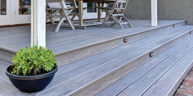 Outdoor deck with steps
