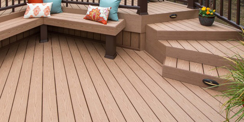 Decking steps in outdoor space